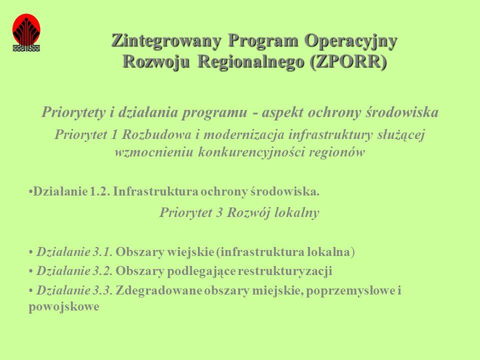 Zintegrowany Program Operacyjny Rozwoju Regionalnego (ZPORR) Priorytety i działania programu - aspekt ochrony środowiska Priorytet 1 Rozbudowa i moder