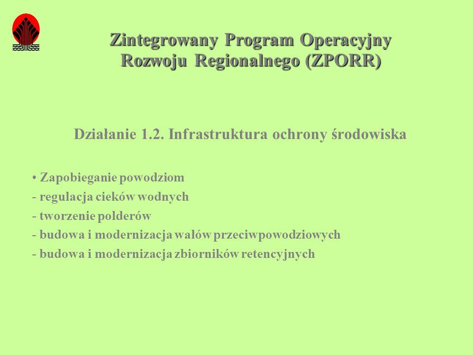 Zintegrowany Program Operacyjny Rozwoju Regionalnego (ZPORR) Działanie 1.2. Infrastruktura ochrony środowiska Zapobieganie powodziom - regulacja ciekó