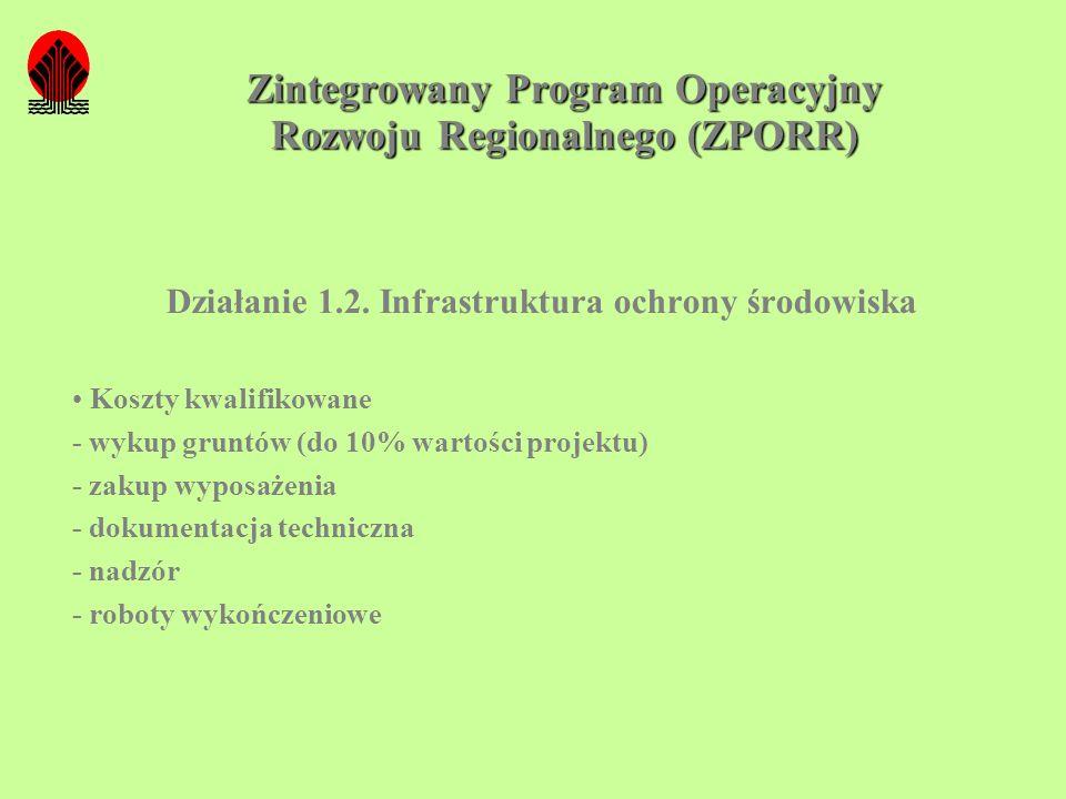 Zintegrowany Program Operacyjny Rozwoju Regionalnego (ZPORR) Działanie 1.2. Infrastruktura ochrony środowiska Koszty kwalifikowane - wykup gruntów (do