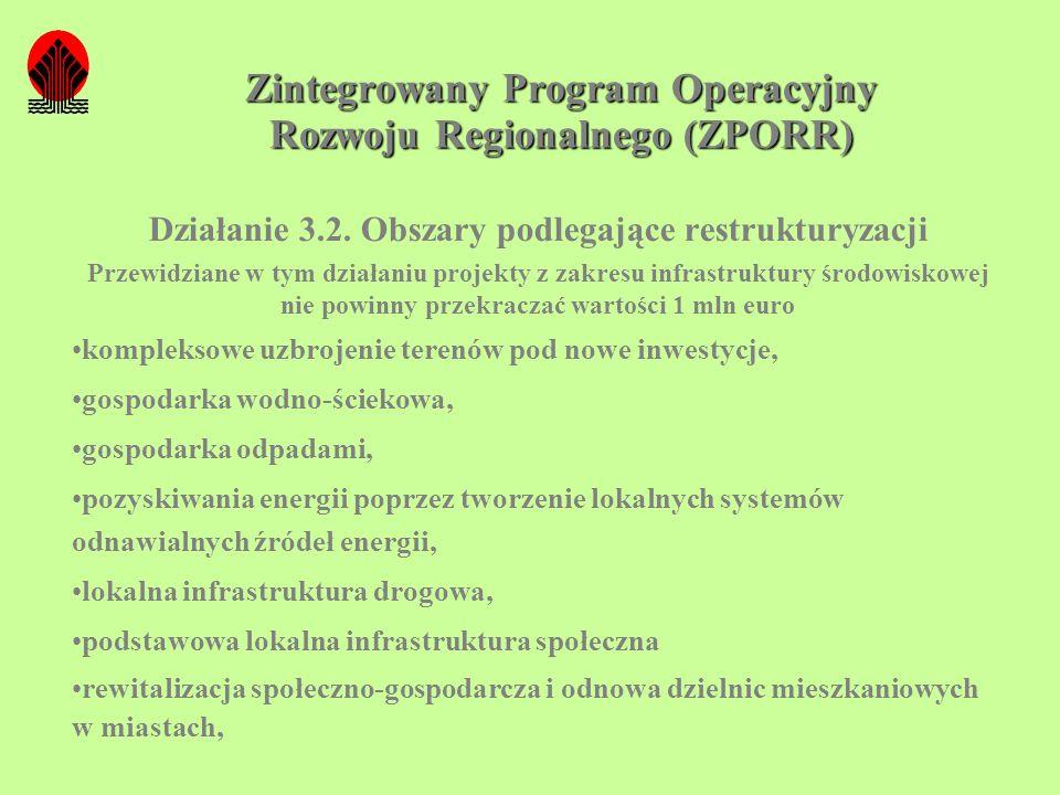Zintegrowany Program Operacyjny Rozwoju Regionalnego (ZPORR) Działanie 3.2. Obszary podlegające restrukturyzacji Przewidziane w tym działaniu projekty