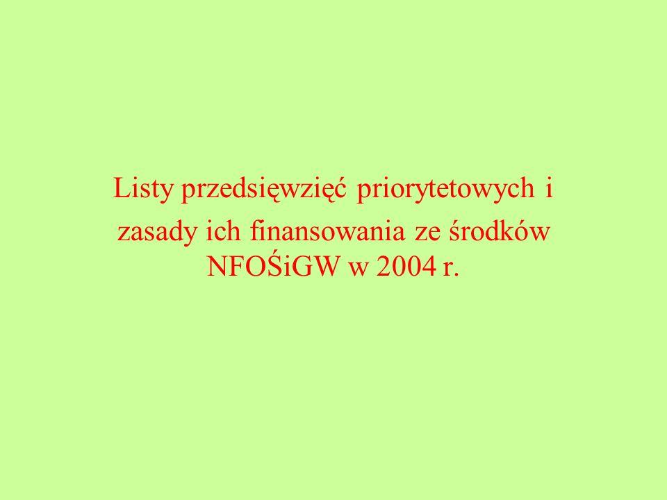Listy przedsięwzięć priorytetowych i zasady ich finansowania ze środków NFOŚiGW w 2004 r.