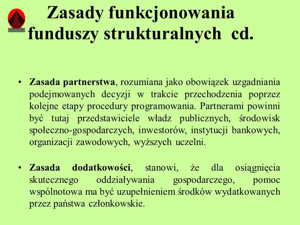 Zasady funkcjonowania funduszy strukturalnych cd.