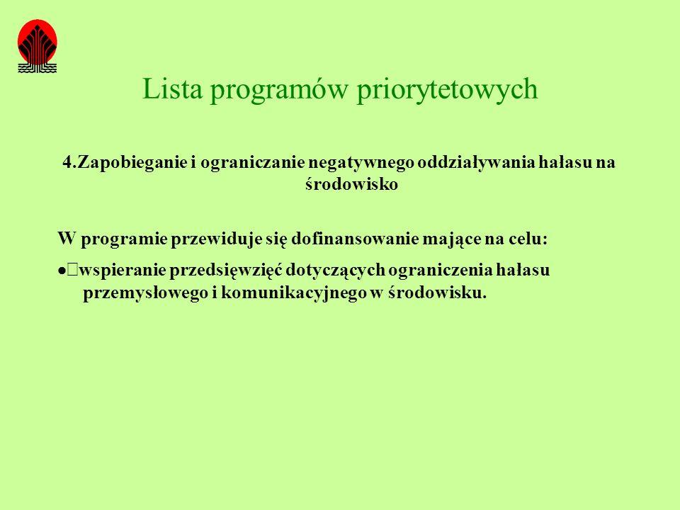 Lista programów priorytetowych 4.Zapobieganie i ograniczanie negatywnego oddziaływania hałasu na środowisko W programie przewiduje się dofinansowanie