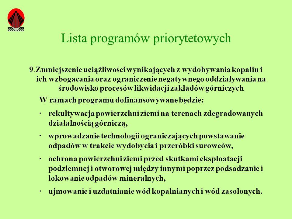 Lista programów priorytetowych 9.Zmniejszenie uciążliwości wynikających z wydobywania kopalin i ich wzbogacania oraz ograniczenie negatywnego oddziały