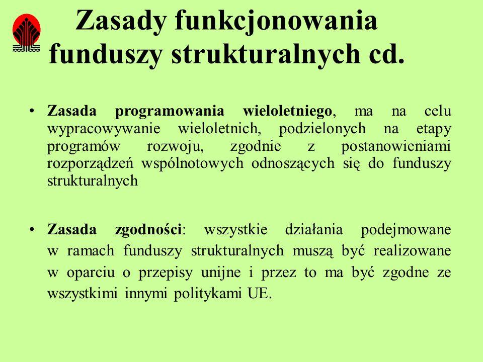 Zasady funkcjonowania funduszy strukturalnych cd. Zasada programowania wieloletniego, ma na celu wypracowywanie wieloletnich, podzielonych na etapy pr