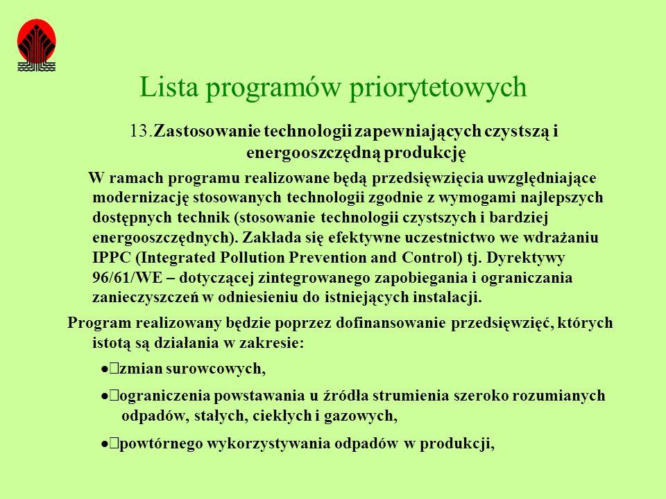 Lista programów priorytetowych 13.Zastosowanie technologii zapewniających czystszą i energooszczędną produkcję W ramach programu realizowane będą prze