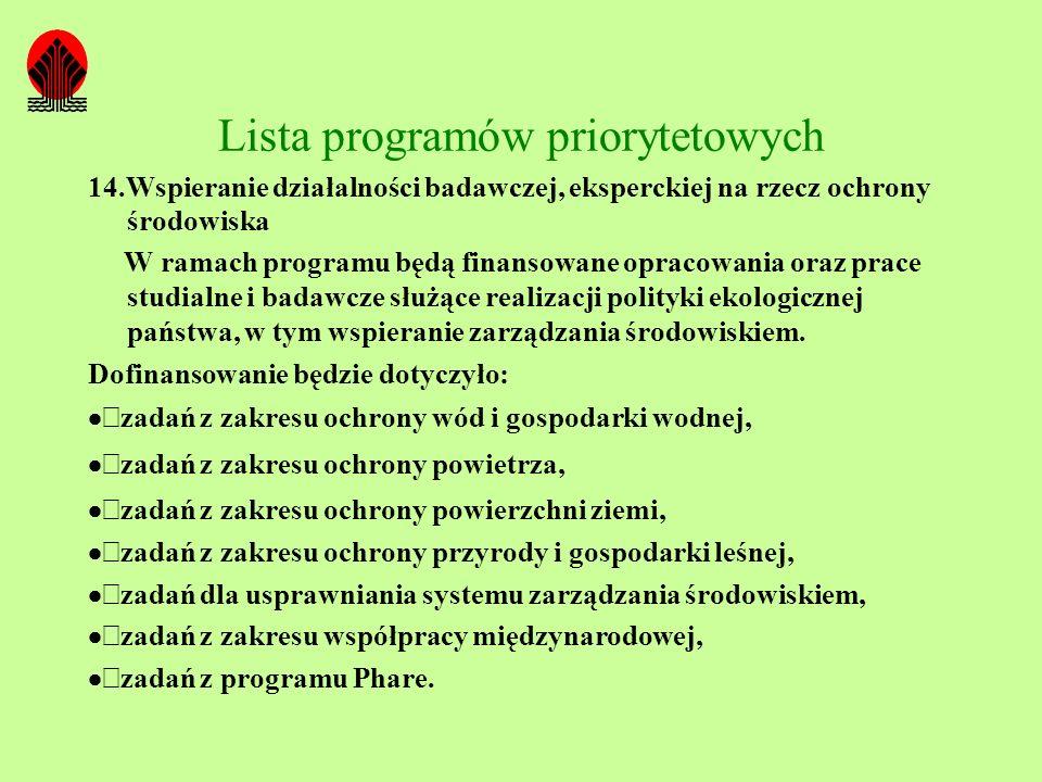 Lista programów priorytetowych 14.Wspieranie działalności badawczej, eksperckiej na rzecz ochrony środowiska W ramach programu będą finansowane opraco