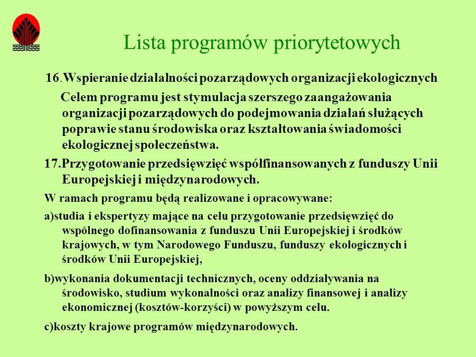 Lista programów priorytetowych 16.Wspieranie działalności pozarządowych organizacji ekologicznych Celem programu jest stymulacja szerszego zaangażowan