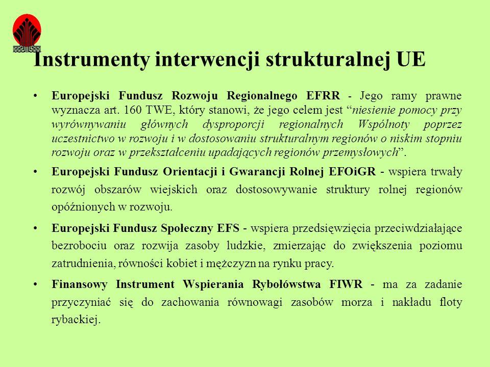 Instrumenty interwencji strukturalnej UE Europejski Fundusz Rozwoju Regionalnego EFRR - Jego ramy prawne wyznacza art. 160 TWE, który stanowi, że jego