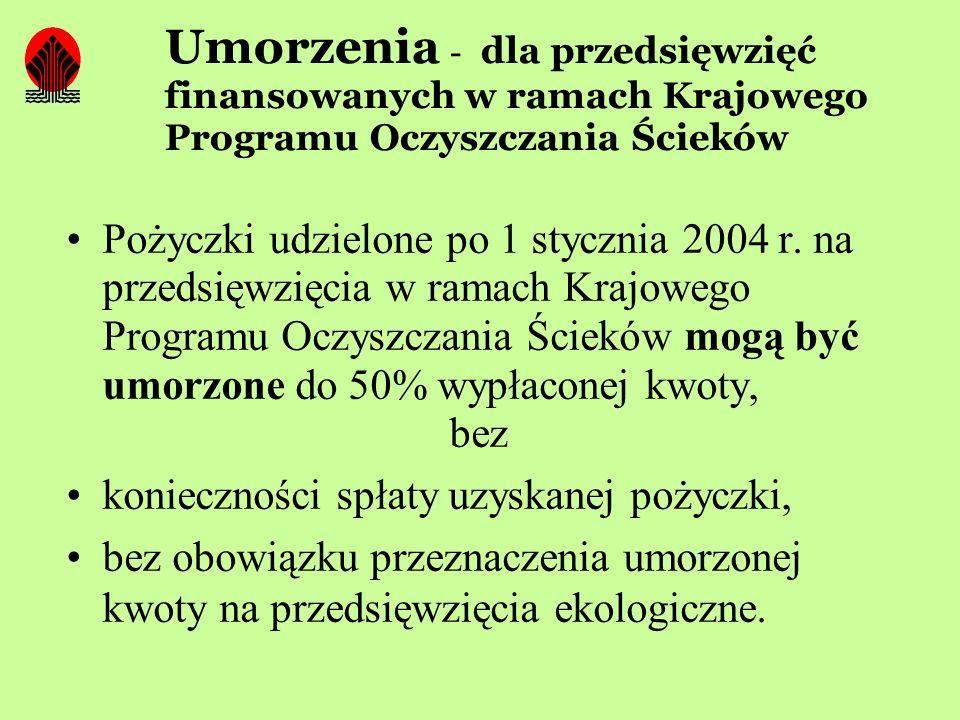 Umorzenia - dla przedsięwzięć finansowanych w ramach Krajowego Programu Oczyszczania Ścieków Pożyczki udzielone po 1 stycznia 2004 r. na przedsięwzięc
