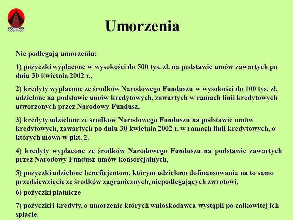 Umorzenia Nie podlegają umorzeniu: 1) pożyczki wypłacone w wysokości do 500 tys. zł. na podstawie umów zawartych po dniu 30 kwietnia 2002 r., 2) kredy