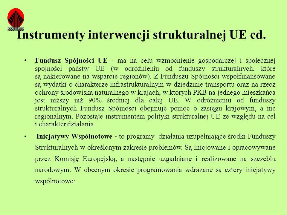 Instrumenty interwencji strukturalnej UE cd. Fundusz Spójności UE - ma na celu wzmocnienie gospodarczej i społecznej spójności państw UE (w odróżnieni