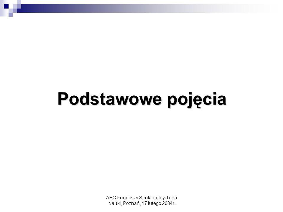 ABC Funduszy Strukturalnych dla Nauki, Poznań, 17 lutego 2004r. Podstawowe pojęcia