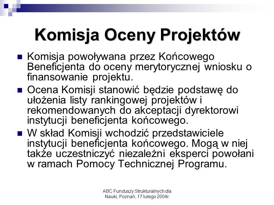 ABC Funduszy Strukturalnych dla Nauki, Poznań, 17 lutego 2004r.