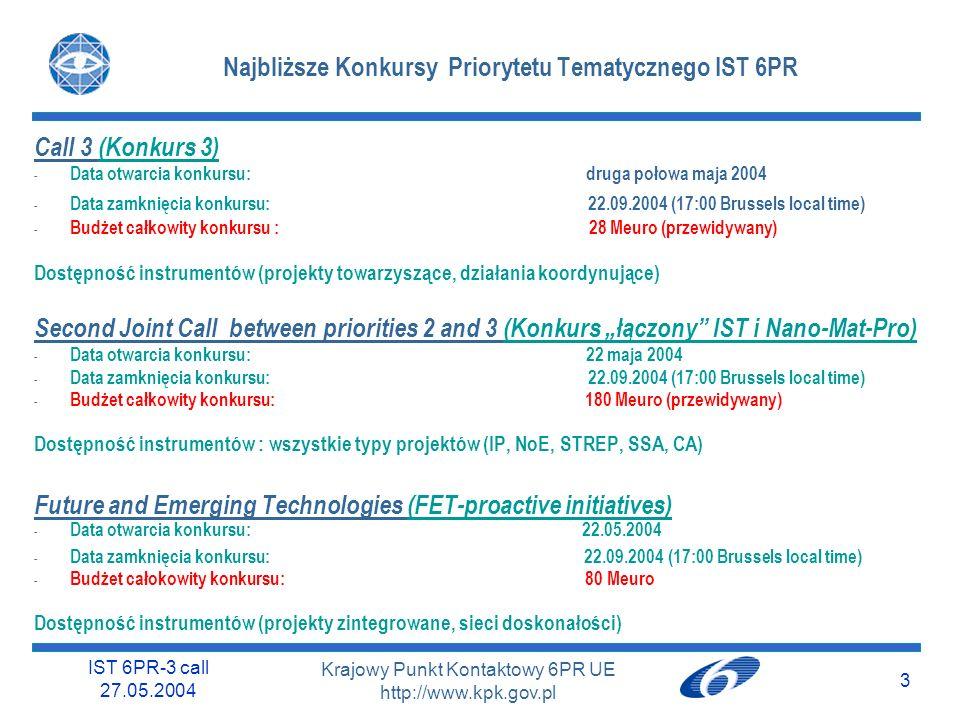IST 6PR-3 call 27.05.2004 3 Krajowy Punkt Kontaktowy 6PR UE http://www.kpk.gov.pl Najbliższe Konkursy Priorytetu Tematycznego IST 6PR Call 3 (Konkurs 3) - Data otwarcia konkursu: druga połowa maja 2004 - Data zamknięcia konkursu: 22.09.2004 (17:00 Brussels local time) - Budżet całkowity konkursu : 28 Meuro (przewidywany) Dostępność instrumentów (projekty towarzyszące, działania koordynujące) Second Joint Call between priorities 2 and 3 (Konkurs łączony IST i Nano-Mat-Pro) - Data otwarcia konkursu: 22 maja 2004 - Data zamknięcia konkursu: 22.09.2004 (17:00 Brussels local time) - Budżet całkowity konkursu: 180 Meuro (przewidywany) Dostępność instrumentów : wszystkie typy projektów (IP, NoE, STREP, SSA, CA) Future and Emerging Technologies (FET-proactive initiatives) - Data otwarcia konkursu: 22.05.2004 - Data zamknięcia konkursu: 22.09.2004 (17:00 Brussels local time) - Budżet całokowity konkursu: 80 Meuro Dostępność instrumentów (projekty zintegrowane, sieci doskonałości)