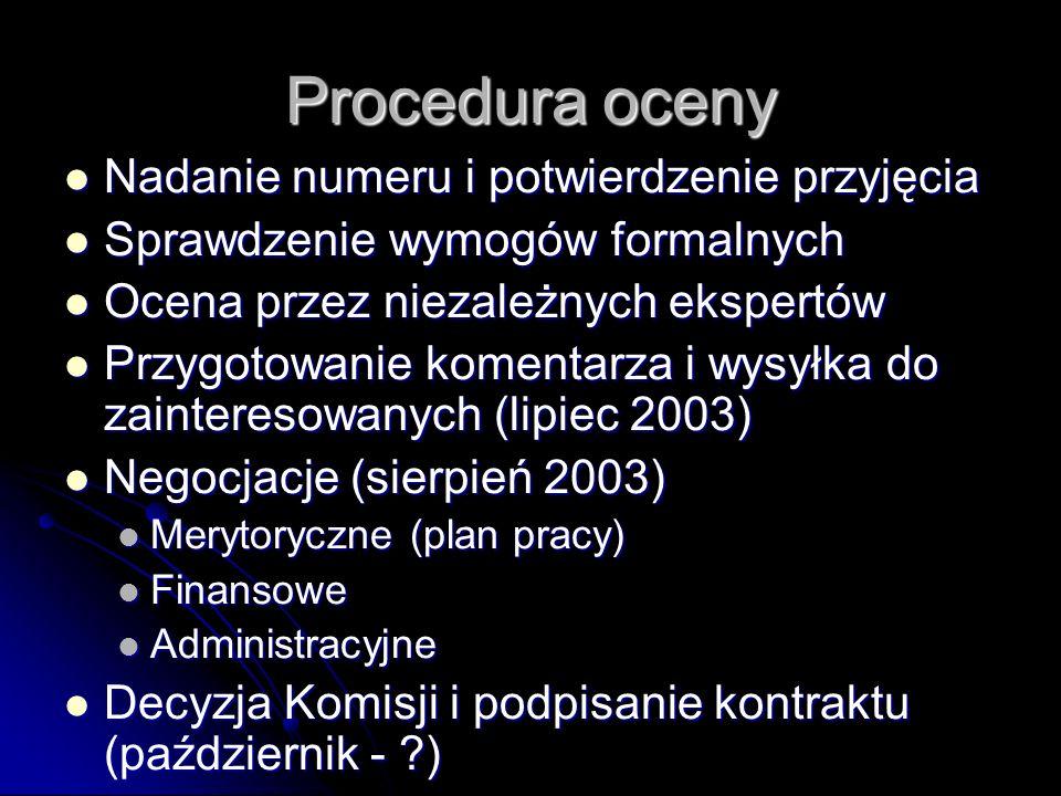 Procedura oceny Nadanie numeru i potwierdzenie przyjęcia Nadanie numeru i potwierdzenie przyjęcia Sprawdzenie wymogów formalnych Sprawdzenie wymogów formalnych Ocena przez niezależnych ekspertów Ocena przez niezależnych ekspertów Przygotowanie komentarza i wysyłka do zainteresowanych (lipiec 2003) Przygotowanie komentarza i wysyłka do zainteresowanych (lipiec 2003) Negocjacje (sierpień 2003) Negocjacje (sierpień 2003) Merytoryczne (plan pracy) Merytoryczne (plan pracy) Finansowe Finansowe Administracyjne Administracyjne Decyzja Komisji i podpisanie kontraktu (październik - ) Decyzja Komisji i podpisanie kontraktu (październik - )