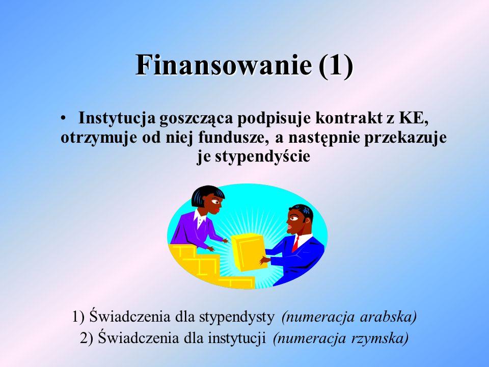 Finansowanie (1) Instytucja goszcząca podpisuje kontrakt z KE, otrzymuje od niej fundusze, a następnie przekazuje je stypendyście 1) Świadczenia dla stypendysty (numeracja arabska) 2) Świadczenia dla instytucji (numeracja rzymska)