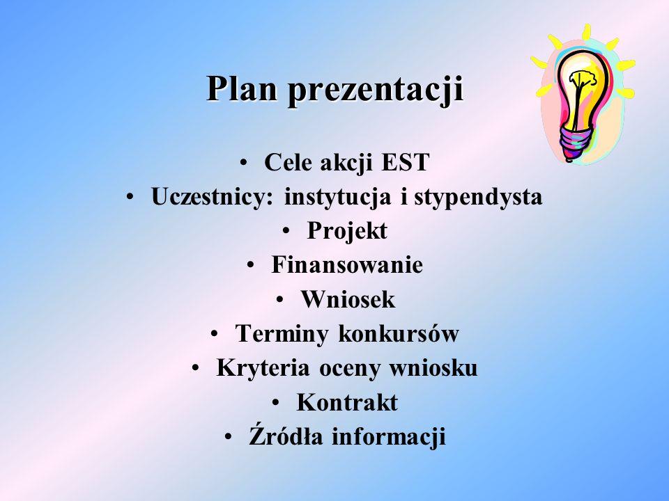 Plan prezentacji Cele akcji EST Uczestnicy: instytucja i stypendysta Projekt Finansowanie Wniosek Terminy konkursów Kryteria oceny wniosku Kontrakt Źródła informacji
