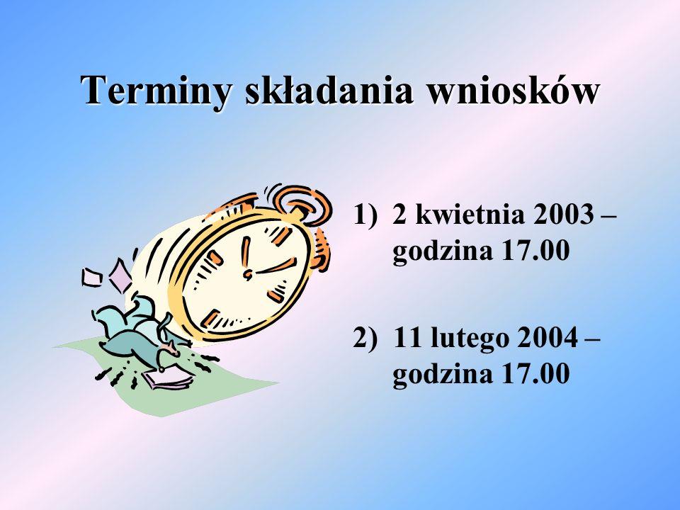 Terminy składania wniosków 1)2 kwietnia 2003 – godzina 17.00 2) 11 lutego 2004 – godzina 17.00