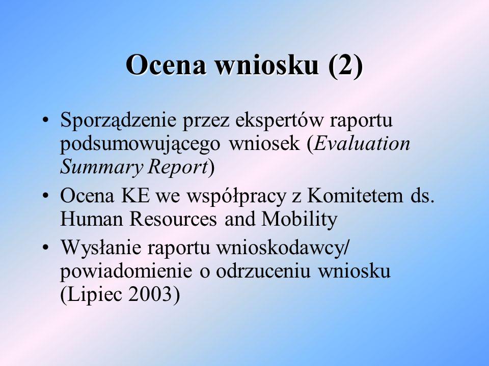 Ocena wniosku (2) Sporządzenie przez ekspertów raportu podsumowującego wniosek (Evaluation Summary Report) Ocena KE we współpracy z Komitetem ds.