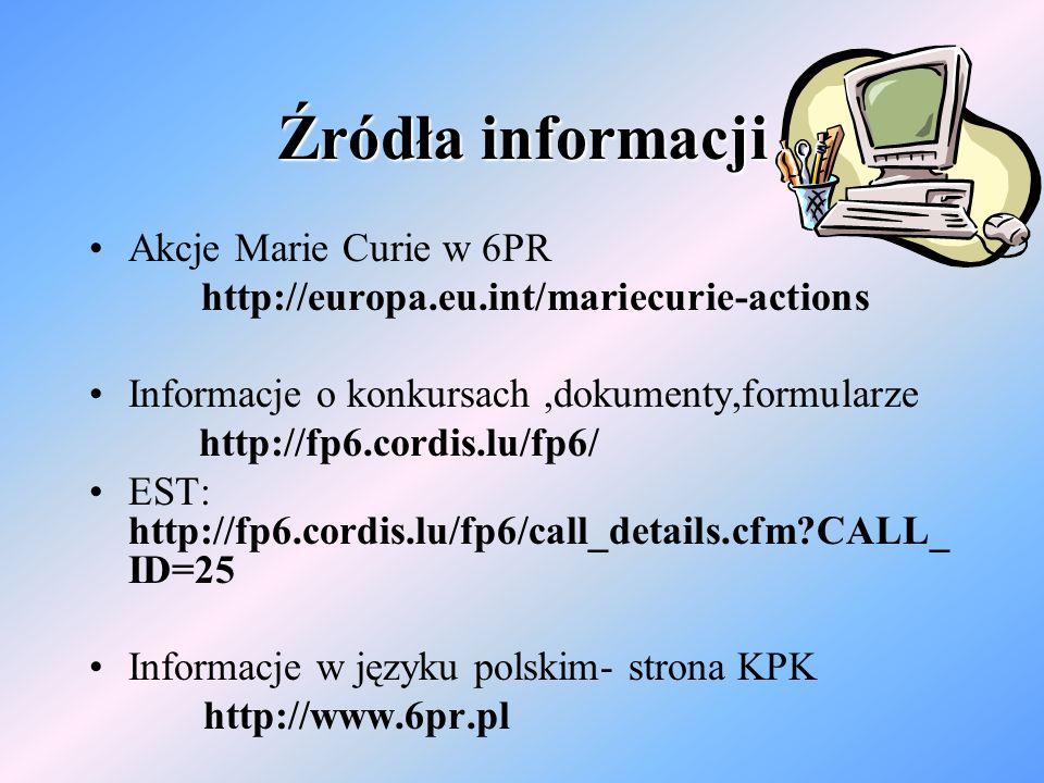 Źródła informacji Akcje Marie Curie w 6PR http://europa.eu.int/mariecurie-actions Informacje o konkursach,dokumenty,formularze http://fp6.cordis.lu/fp6/ EST: http://fp6.cordis.lu/fp6/call_details.cfm?CALL_ ID=25 Informacje w języku polskim- strona KPK http://www.6pr.pl
