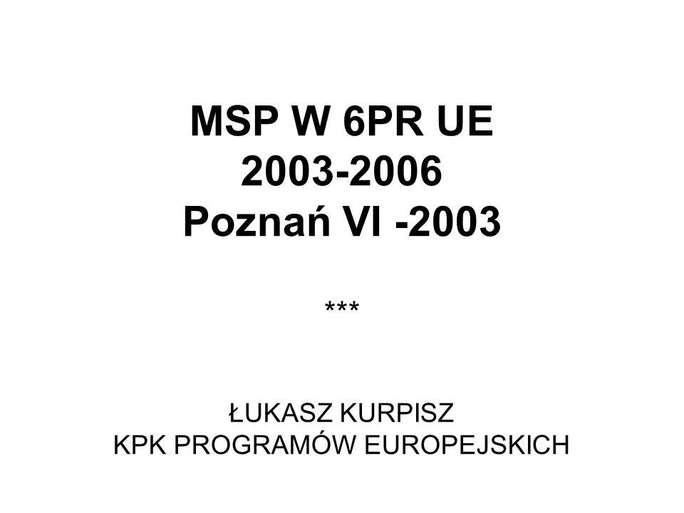 MSP W 6PR UE 2003-2006 Poznań VI -2003 ŁUKASZ KURPISZ KPK PROGRAMÓW EUROPEJSKICH ***