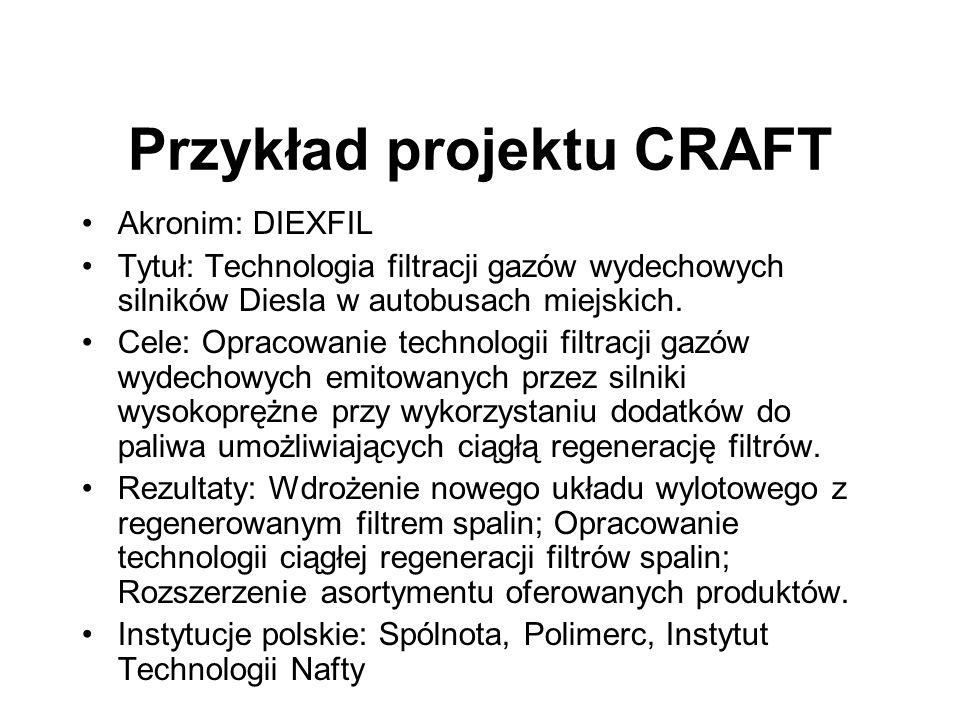 Przykład projektu CRAFT Akronim: DIEXFIL Tytuł: Technologia filtracji gazów wydechowych silników Diesla w autobusach miejskich. Cele: Opracowanie tech