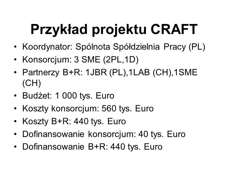 Przykład projektu CRAFT Koordynator: Spólnota Spółdzielnia Pracy (PL) Konsorcjum: 3 SME (2PL,1D) Partnerzy B+R: 1JBR (PL),1LAB (CH),1SME (CH) Budżet: 1 000 tys.