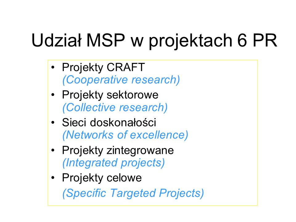 Udział MSP w projektach 6 PR Projekty CRAFT (Cooperative research) Projekty sektorowe (Collective research) Sieci doskonałości (Networks of excellence) Projekty zintegrowane (Integrated projects) Projekty celowe (Specific Targeted Projects)