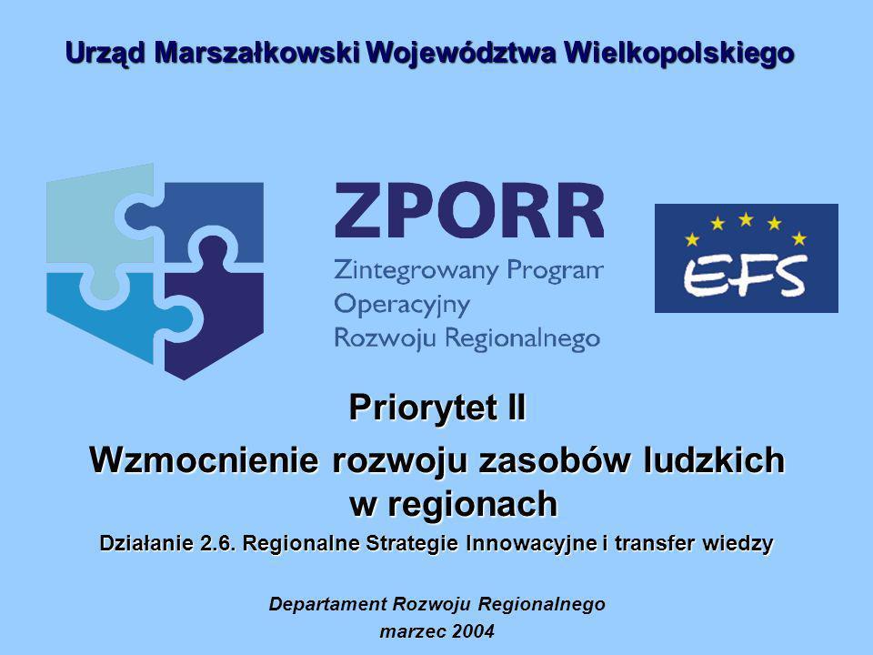 Priorytet II Wzmocnienie rozwoju zasobów ludzkich w regionach Działanie 2.6.