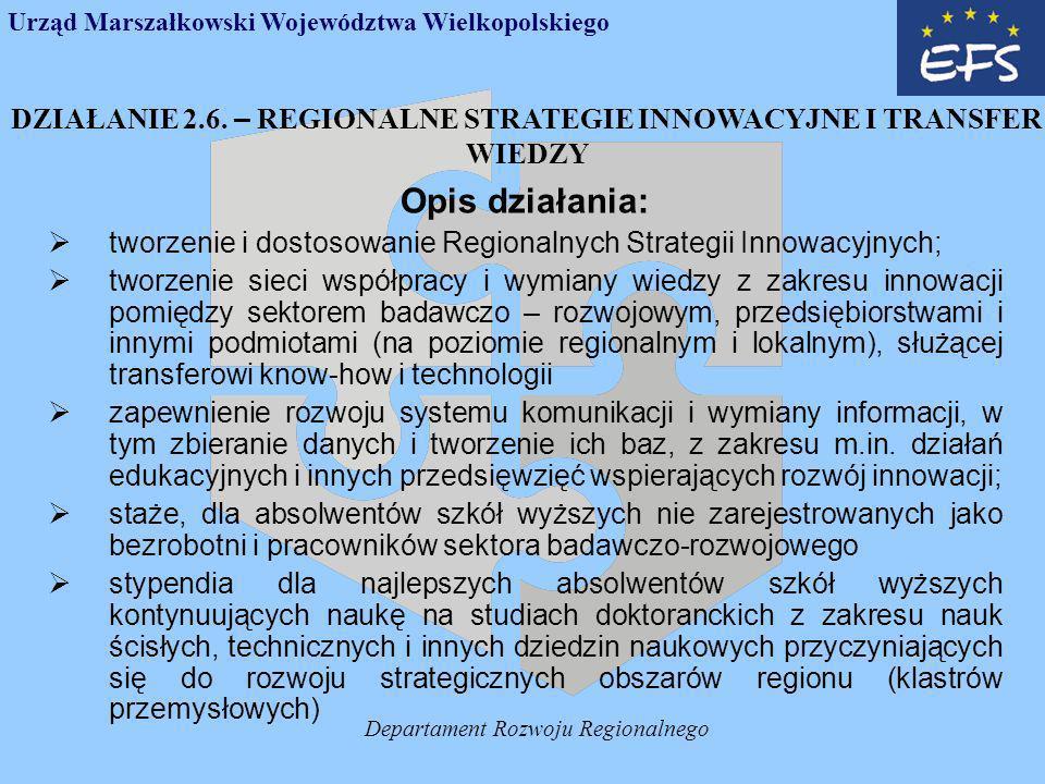 Departament Rozwoju Regionalnego DZIAŁANIE 2.6.