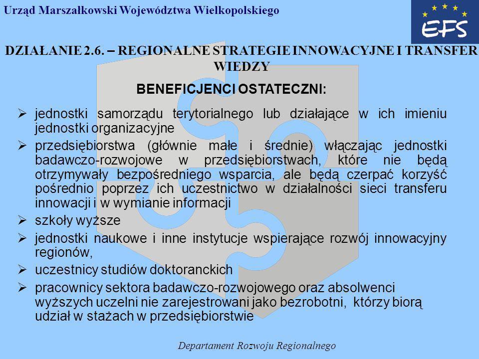 Departament Rozwoju Regionalnego Wybór projektów 1.