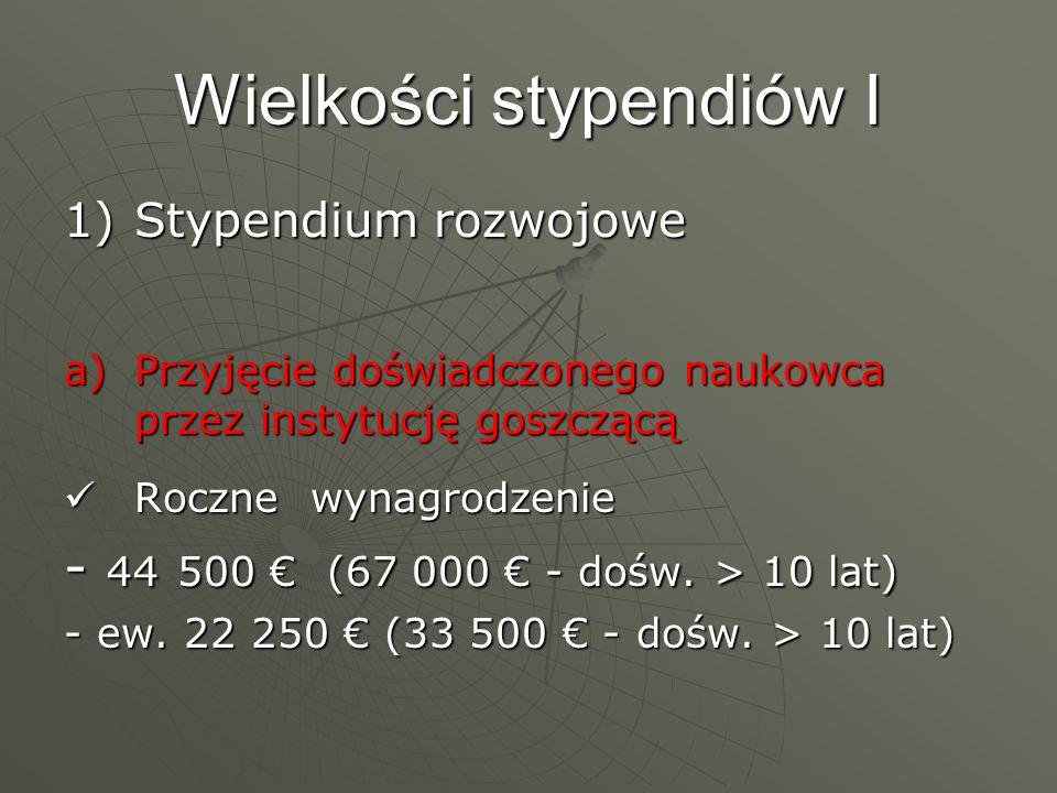 Wielkości stypendiów I 1)Stypendium rozwojowe a)Przyjęcie doświadczonego naukowca przez instytucję goszczącą Roczne wynagrodzenie Roczne wynagrodzenie