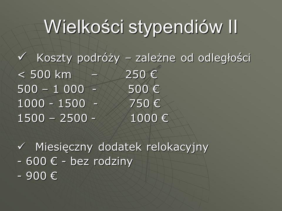 Wielkości stypendiów II Koszty podróży – zależne od odległości Koszty podróży – zależne od odległości < 500 km – 250 < 500 km – 250 500 – 1 000 - 500