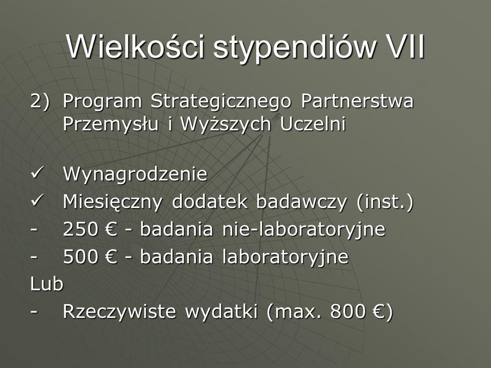 Wielkości stypendiów VII 2)Program Strategicznego Partnerstwa Przemysłu i Wyższych Uczelni Wynagrodzenie Wynagrodzenie Miesięczny dodatek badawczy (in