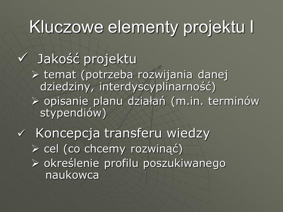 Kluczowe elementy projektu I Jakość projektu Jakość projektu temat (potrzeba rozwijania danej dziedziny, interdyscyplinarność) temat (potrzeba rozwija