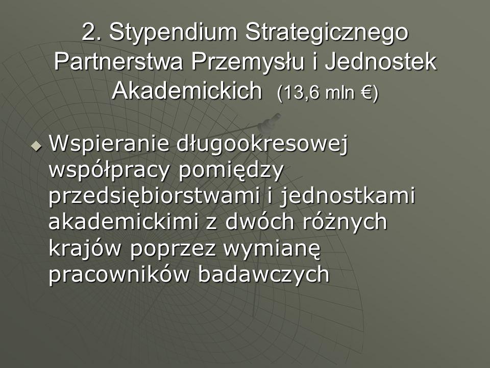 2. Stypendium Strategicznego Partnerstwa Przemysłu i Jednostek Akademickich (13,6 mln ) Wspieranie długookresowej współpracy pomiędzy przedsiębiorstwa