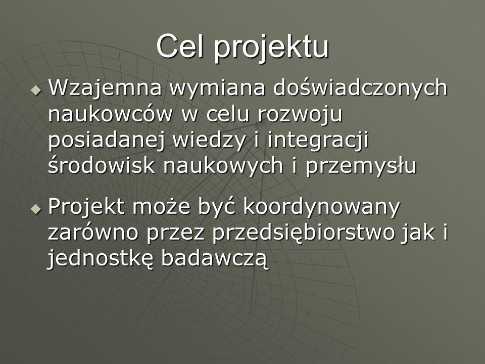 Cel projektu Wzajemna wymiana doświadczonych naukowców w celu rozwoju posiadanej wiedzy i integracji środowisk naukowych i przemysłu Wzajemna wymiana