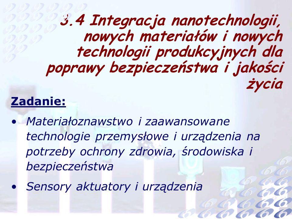 Zadanie: Materiałoznawstwo i zaawansowane technologie przemysłowe i urządzenia na potrzeby ochrony zdrowia, środowiska i bezpieczeństwa Sensory aktuatory i urządzenia 3.4 Integracja nanotechnologii, nowych materiałów i nowych technologii produkcyjnych dla poprawy bezpieczeństwa i jakości życia