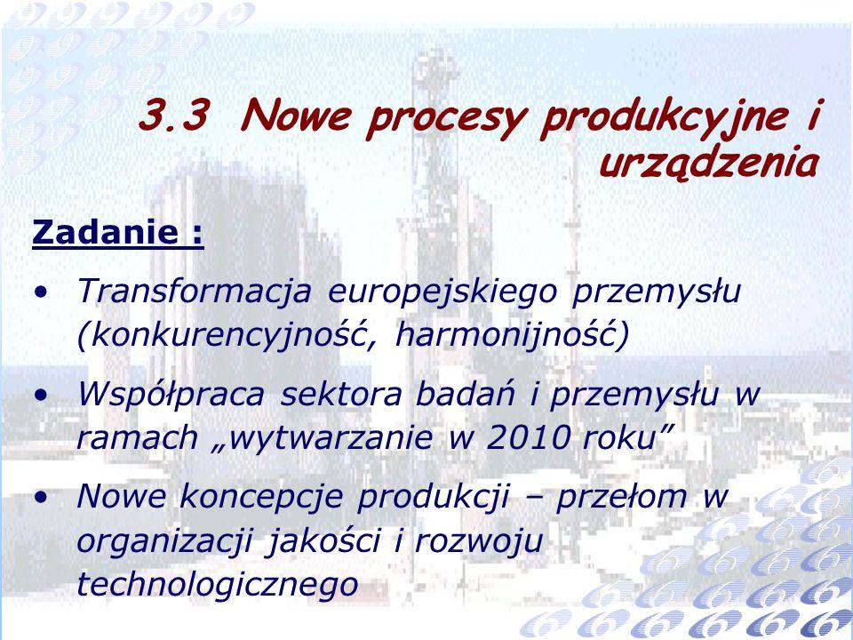 Zadanie : Transformacja europejskiego przemysłu (konkurencyjność, harmonijność) Współpraca sektora badań i przemysłu w ramach wytwarzanie w 2010 roku Nowe koncepcje produkcji – przełom w organizacji jakości i rozwoju technologicznego 3.3 Nowe procesy produkcyjne i urządzenia