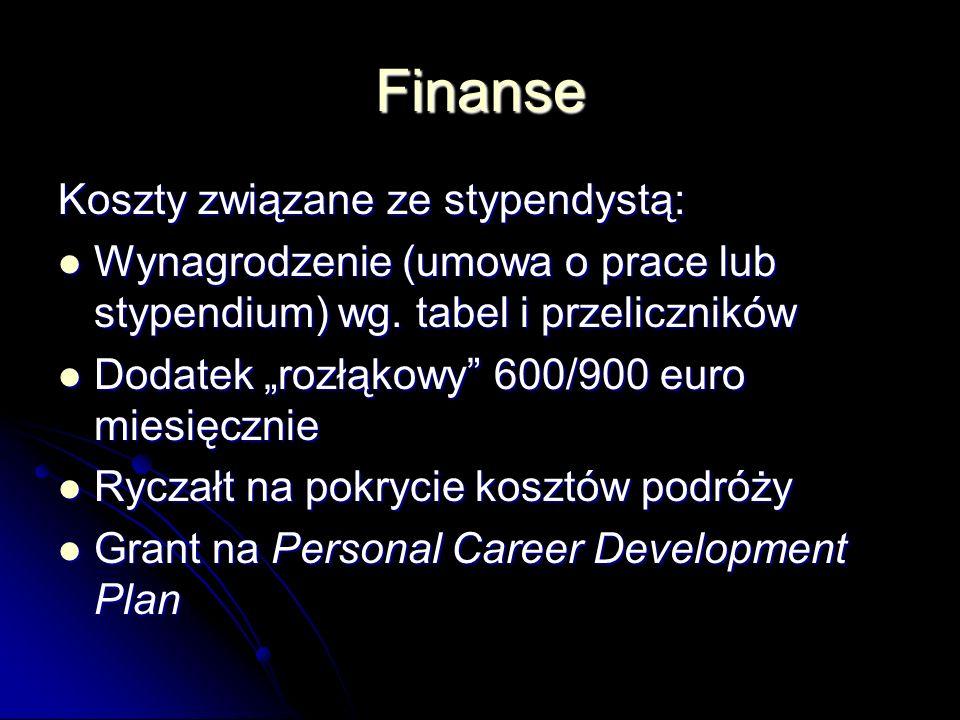 Finanse Koszty związane ze stypendystą: Wynagrodzenie (umowa o prace lub stypendium) wg.