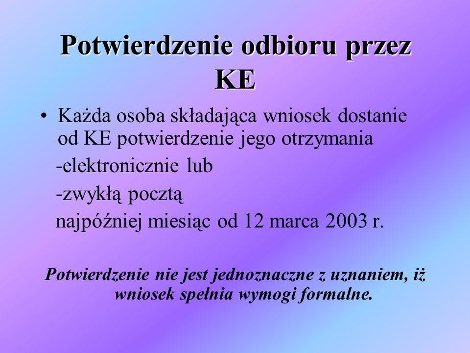 Potwierdzenie odbioru przez KE Każda osoba składająca wniosek dostanie od KE potwierdzenie jego otrzymania -elektronicznie lub -zwykłą pocztą najpóźniej miesiąc od 12 marca 2003 r.