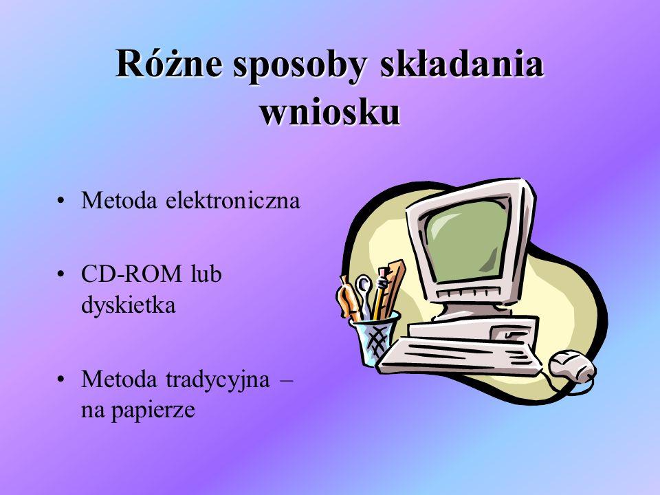Różne sposoby składania wniosku Metoda elektroniczna CD-ROM lub dyskietka Metoda tradycyjna – na papierze