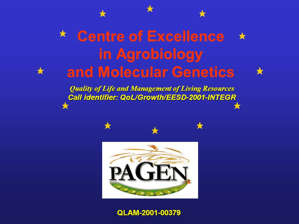 Centre of Excellence in Agrobiology and Molecular Genetics Quality of Life and Management of Living Resources Quality of Life and Management of Living