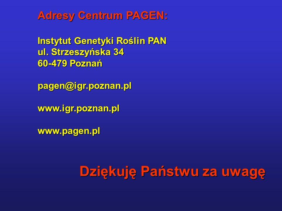 Adresy Centrum PAGEN: Instytut Genetyki Roślin PAN ul.