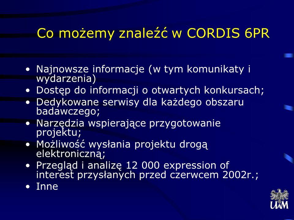 Co możemy znaleźć w CORDIS 6PR Najnowsze informacje (w tym komunikaty i wydarzenia) Dostęp do informacji o otwartych konkursach; Dedykowane serwisy dla każdego obszaru badawczego; Narzędzia wspierające przygotowanie projektu; Możliwość wysłania projektu drogą elektroniczną; Przegląd i analizę 12 000 expression of interest przysłanych przed czerwcem 2002r.; Inne