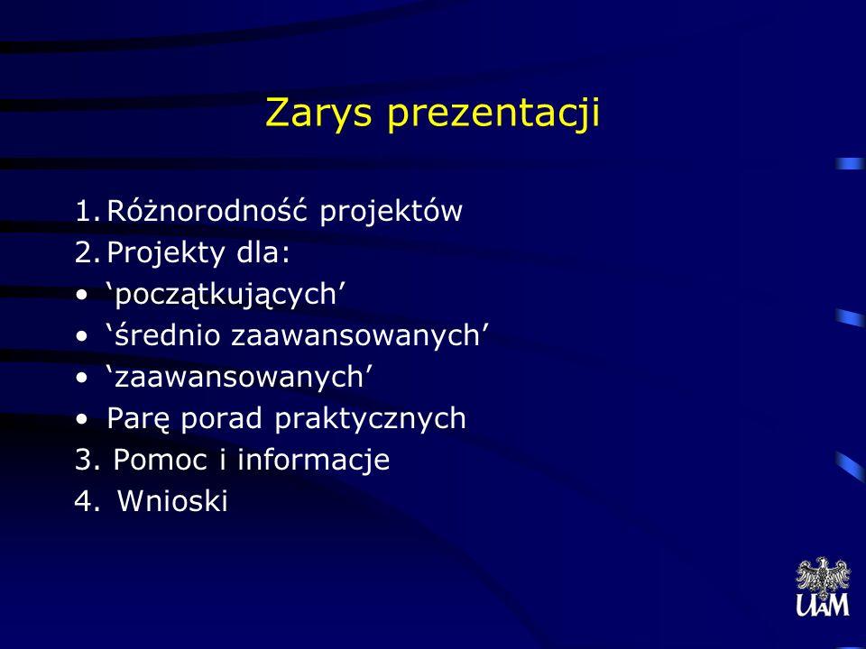 Zarys prezentacji 1.Różnorodność projektów 2.Projekty dla: początkujących średnio zaawansowanych zaawansowanych Parę porad praktycznych 3.