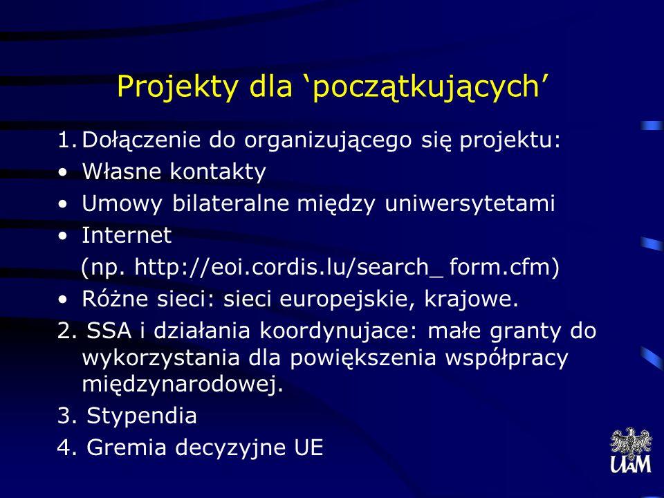 Projekty dla początkujących 1.Dołączenie do organizującego się projektu: Własne kontakty Umowy bilateralne między uniwersytetami Internet (np.