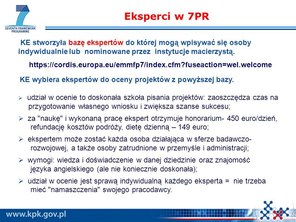 Eksperci w 7PR KE stworzyła bazę ekspertów do której mogą wpisywać się osoby indywidualnie lub nominowane przez instytucje macierzystą.