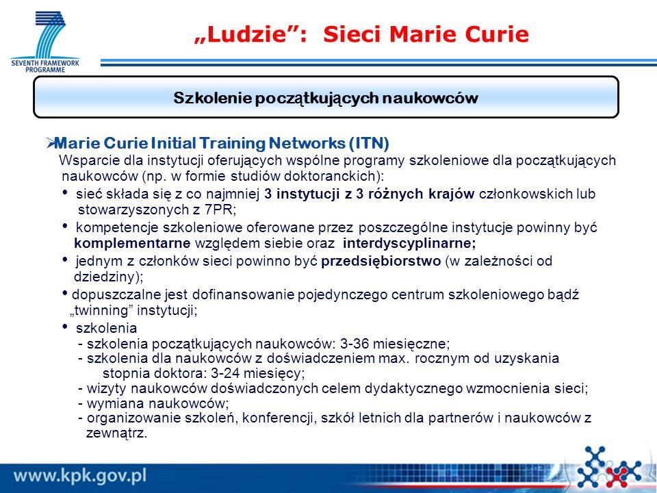 Ludzie: Sieci Marie Curie Szkolenie pocz ą tkuj ą cych naukowców Marie Curie Initial Training Networks (ITN) Wsparcie dla instytucji oferujących wspólne programy szkoleniowe dla początkujących naukowców (np.